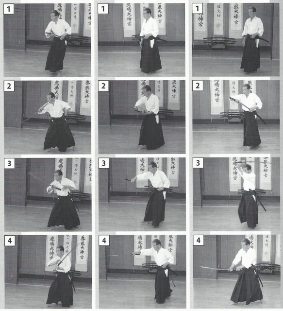Figure 8. Les trois sortes de nuki-uchi (tirer-couper) : (1) à partir du haut) ; (2) à partir du côté et (3) contre un ennemi situé à l'arrière. On a filmé difficilement grâce à une prise de vue de 30 images/sec. Mais toutes les actions sont terminées en une seule seconde. C'est extrêmement rapide. L'adoption du port du sabre lame en haut a permis d'atteindre la vitesse du