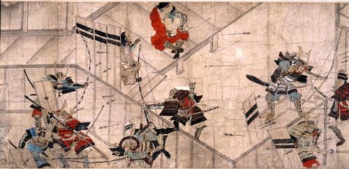 Détail du Yūki Kassen Ekotoba (XVe siècle) représentant le suicide d'Ashikaga Mochiuji en 1439