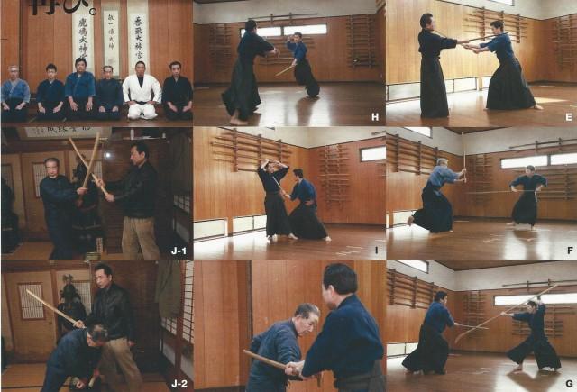 E = Omote-no-tachi et Ura-no-tachi. F = Bōjutsu. G = Naginatajutsu. H = Combat avec deux sabres. I = Sabre court. Ils nous ont montré plusieurs techniques dont