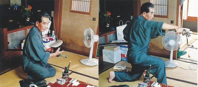 Technique de iai lors d'un combat nocturne par maître Otake Risuke.