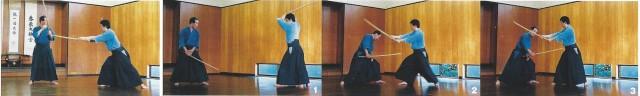 Kuzushi du kata Itsutsu-no-Tachi [secret du positionnement]. Tout à gauche, kirikomi pique entre la fente de l'armure de l'adversaire. Images suivantes : la garde basse est la plus avantageuse. Lors d'un duel, la personne en garde basse a toutes les chances de gagner. Une fois, la lame au-dessus du sabre adversaire, on peut couper et gagner.