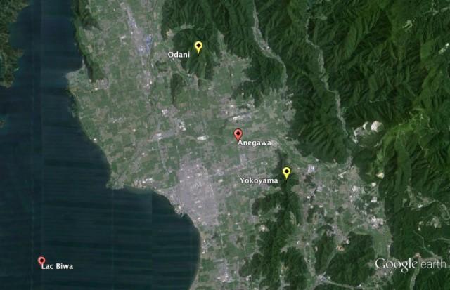 Figure 15. Environnement géographique de la bataille d'Anegawa.